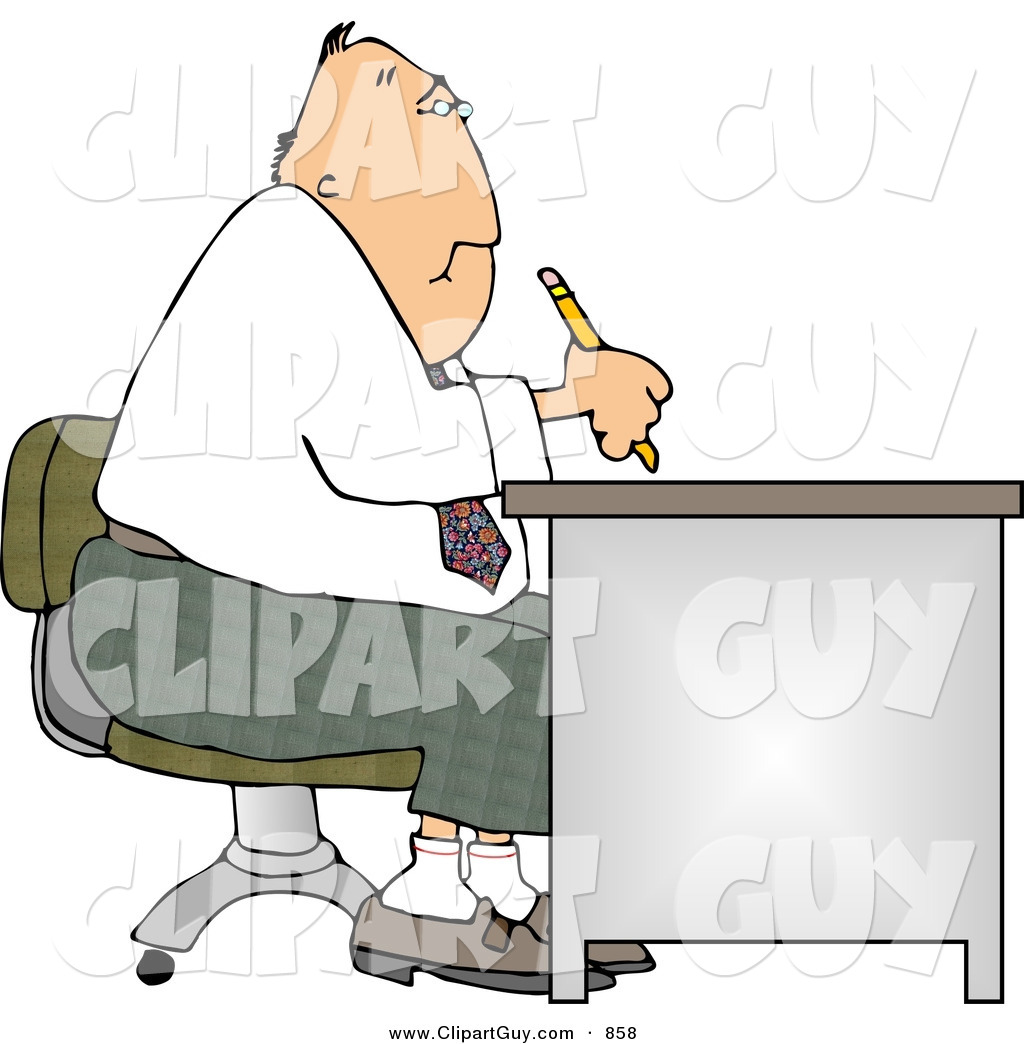 Larger preview clip art of a chubby businessman working at desk by