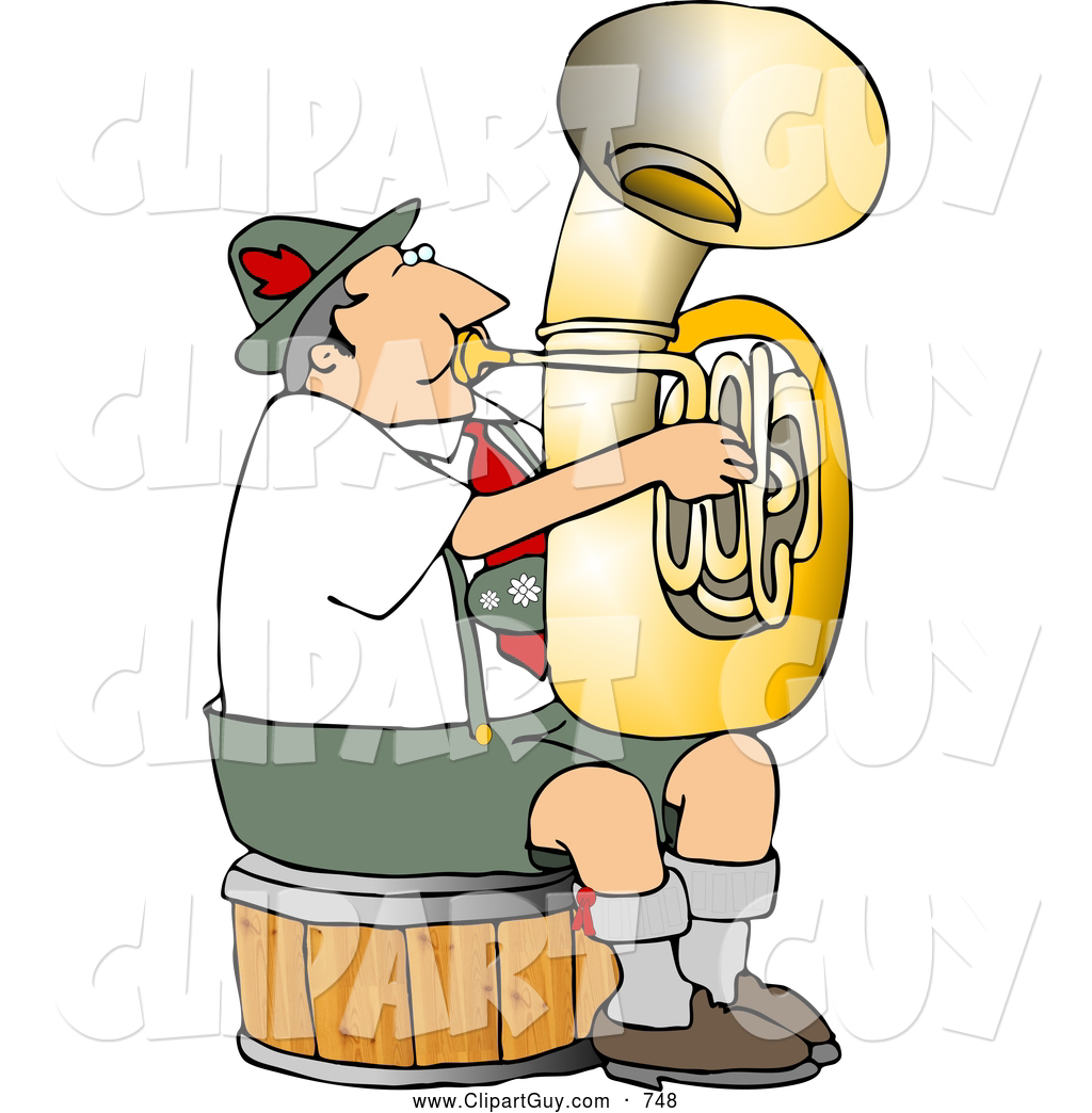 Clip Art Of A German Tuba Player Practicing By Himself For Band