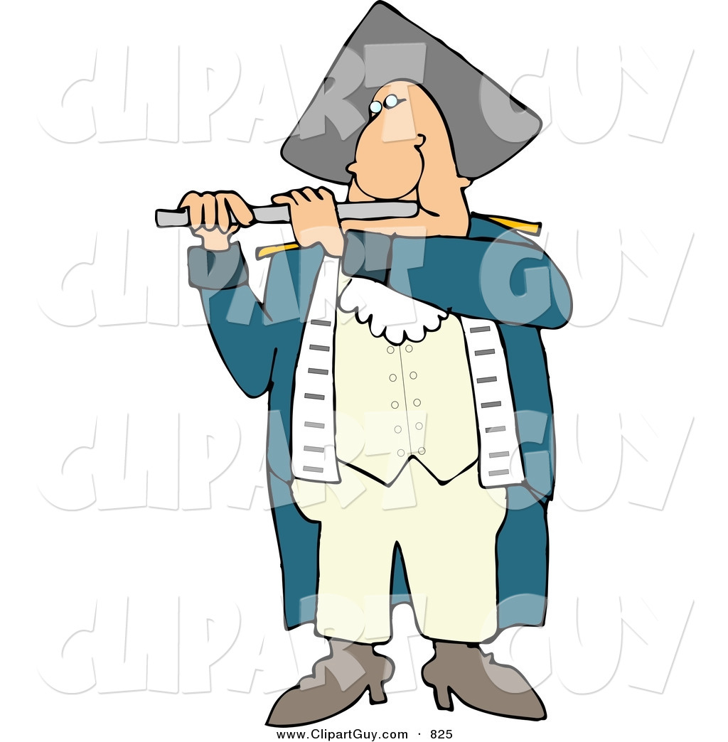 ... Revolutionary War Flutist Playing a Flute and Looking Forward by Djart Indian Flute Clipart