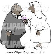 Americana Vector Clip Art of an African American Male and Female Couple Getting Hitched by Djart