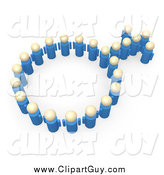 Clip Art of a 3d Group of Blue People Forming the Male Sex Symbol by 3poD