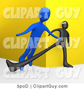 Clip Art of a 3d Man Tripping Another - Royalty Free by 3poD