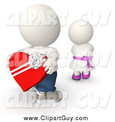 Clip Art of a 3d White Boy Giving a Girl Valentines Candy by
