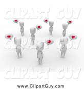 Clip Art of a 3d White Group of People Talking About Love by BNP Design Studio