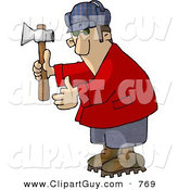 Clip Art of a Amateur Lumberjack Holding an Axe by Djart