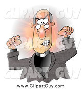 Clip Art of a Angry Male Preacher Throwing a Temper Tantrum in Church by Djart