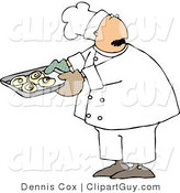 Clip Art of a Baker or Cook Looking over His Shoulder While Holding a Tray of Raw Cinnamon Rolls by Djart