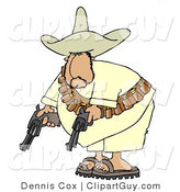 Clip Art of a Bandit Pointing His Two Pistols Towards the Ground by Djart