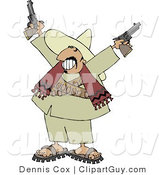 Clip Art of a Bandito Pointing Pistols in the Air with a Grin on His Face by Djart