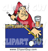 Clip Art of a Billiards Player Aiming a Cue Stick on a Pool Table, Smoking and Drinking by Snowy