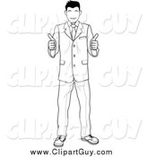 Clip Art of a Black and White Satisified Customer or Boss Smiling and Giving Two Thumbs up by AtStockIllustration