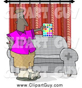 Clip Art of a Black Male Interior Designer Holding a Color Chart by Djart