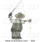 Clip Art of a Black Man Fly Fisherman Getting Ready to Go Fishing by Djart