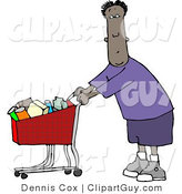 Clip Art of a Black Man Shopping at His Local Food Store for Groceries by Djart