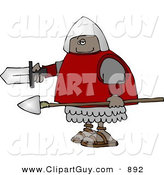 Clip Art of a Black Roman Soldier Armed with a Spear and Sword by Djart