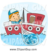 Clip Art of a Blond Fisherman Reeling in a Net by BNP Design Studio