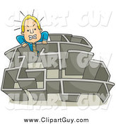 Clip Art of a Blond White Angry Businessman Climbing over a Wall in a Maze by BNP Design Studio