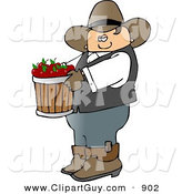 Clip Art of a Bored Cowboy Farmer Carrying a Bucket of Freshly Picked Red Apples by Djart