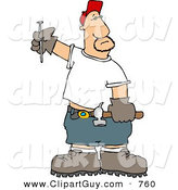 Clip Art of a Bored Male Carpenter with a Hammer and Nail, Ready to Work by Djart