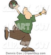 Clip Art of a Bowler Man Throwing a Bowling Ball by Djart