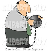 Clip Art of a Businessman Criminal Wearing a Ball and Chain and Looking at the Ball by Djart