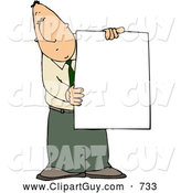 Clip Art of a Businessman Holding a Blank Poster Board Sign, on White by Djart
