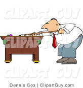Clip Art of a Businessman Playing a Game of Pool After Work by Djart