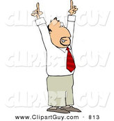 Clip Art of a Businessman Pointing Hands and Fingers up to the Ceiling by Djart