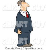 Clip Art of a Businessman Wearing a Blue Suit by Djart