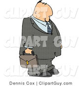 Clip Art of a Businessman Wearing a Gray Suit and Tie and Carrying a Brown Briefcase by Djart