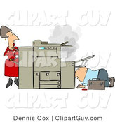 Clip Art of a Businesswoman Watching a Handyman Fix Her Broken Photocopy Machine by Djart
