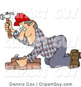 Clip Art of a Carpenter Man Hammering a Nail Through Wood Beams by Djart