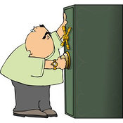 Clip Art of a Caucasian Alert Man Looking over His Shoulder Before Unlocking His Safe by Djart
