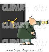 Clip Art of a Caucasian Armed Man Guarding a Safe Full of Family Jewels by Djart