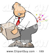 Clip Art of a Caucasian Businessman Cracking and Injuring His Lower Back While Lifting a Heavy Box the Wrong Way by Djart