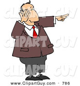 Clip Art of a Caucasian Businessman Laughing While Pointing His Finger at Something by Djart
