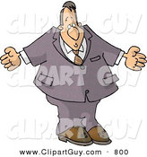 Clip Art of a Caucasian Businessman Man Shrugging His Shoulders by Djart