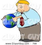 Clip Art of a Caucasian Businessman Pointing out America on a Globe by Djart