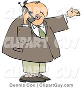 Clip Art of a Caucasian Businessman Talking on a Cellphone by Djart