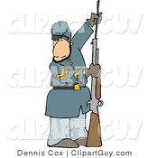 Clip Art of a Caucasian Civil War Soldier Loading His Rifle by Djart