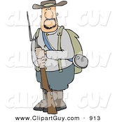 Clip Art of a Caucasian Confederate Army Soldier Holding a Rifle with a Bayonet by Djart