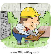 Clip Art of a Caucasian Contractor Builder Sawing Wood by BNP Design Studio
