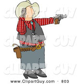 Clip Art of a Caucasian Cowboy Covering His Ear While Shooting a Loud Gun by Djart