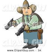 Clip Art of a Caucasian Cowboy Holding and Pointing Two Pistols Towards the Ground by Djart