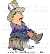 Clip Art of a Caucasian Cowboy Putting Boots on Feet by Djart