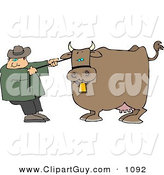Clip Art of a Caucasian Cowboy Rancher Trying to Move One of His Cow's by Djart