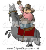 Clip Art of a Caucasian Cowboy Riding a Bucking Bronco/Horse by Djart
