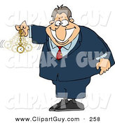 Clip Art of a Caucasian Expert in Hypnotism Waving a Clock Back and Forth by Djart