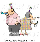 Clip Art of a Caucasian Husband and Wife Partying Together on New Years Eve by Djart