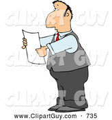 Clip Art of a Caucasian Lawyer Reading an Important Legal Document by Djart